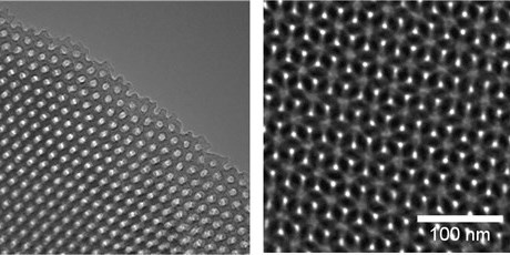 TEM images of Hexagonal and Gyroid Nanoporous Cross-Linked 1,2-Polybutadiene